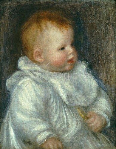 Auguste Renoir: Portrait von Coco vor blauem Hintergrund.