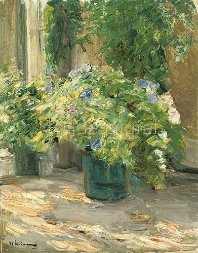 Max Liebermann: Blumentöpfe vor dem Haus. 1926