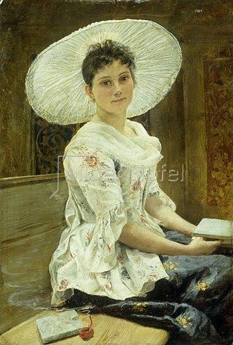 Franz Simm: Junge Frau mit weißem Hut.