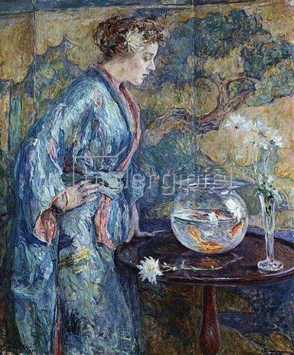 Robert Reid: Mädchen in einem blauen Kimono. 1911