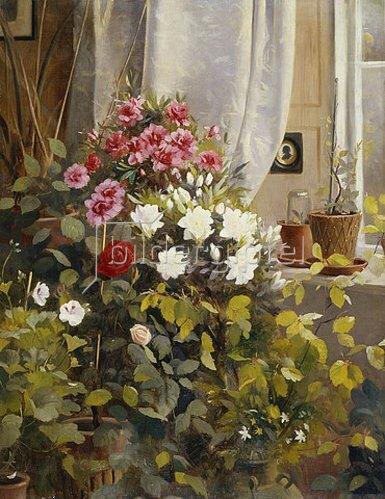 Carl Carlsen: Azaleen, Geranien und Rosen an einem Fenster. 1888