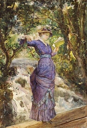 Maria Baschkirtseva: Lesende junge Frau an einem Wasserfall. 1882