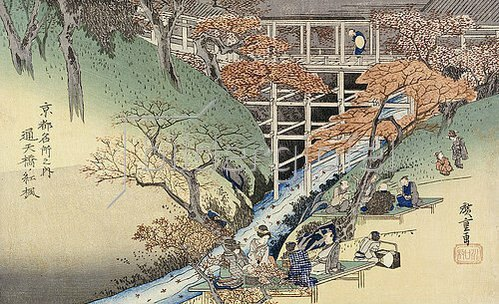 Utagawa Hiroshige: Rote Ahornblätter in Tsuten Bridge. Aus der Serie: Berühmte Orte in Kyoto.