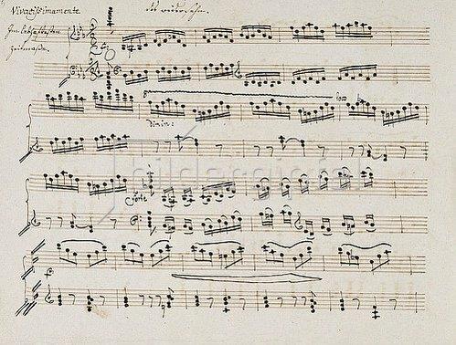 Ludwig van Beethoven: Abwesenheit und Das Wiedersehen (Klaviersonate in E, Opus 81a). Manuskripst eines Kopisten. 1810