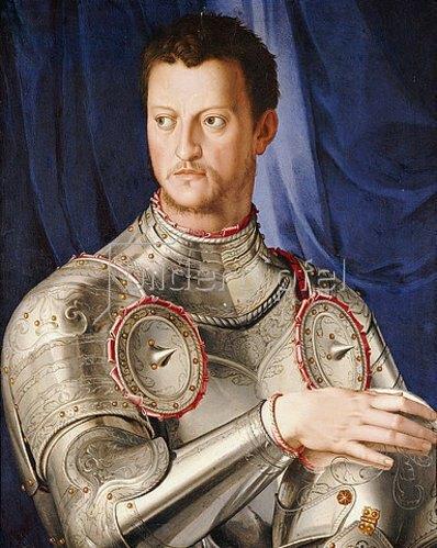 Agnolo Bronzino: Portrait des Cosimo I De' Medici (1519-1574), seine rechte Hand auf seinem Helm ruhend. Um 1545