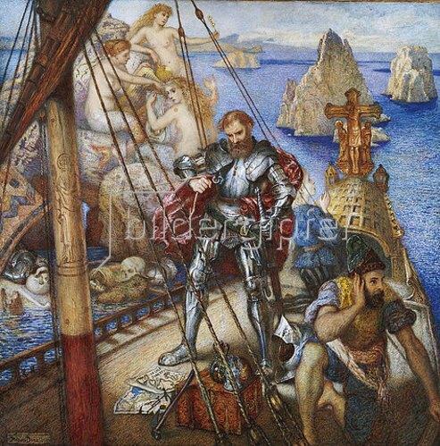 Andrew Benjamin Donaldson: Die Insel der Sirenen, Odysseus bindet sich am Schiffsmast fest. 1867