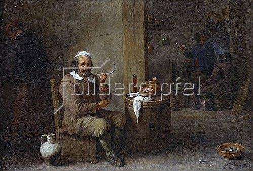 David Teniers: Rauchender Bauer in einem Wirtshaus.