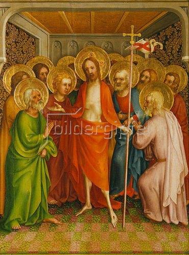 Meister des Heisterbacher Altars: Christus erscheint den Aposteln.