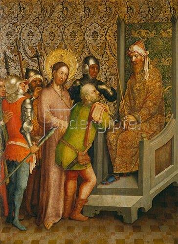Meister des Heisterbacher Altars: Christus vor dem Hohen Rat.