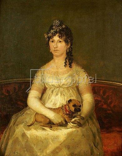 Francisco José de Goya: Portrait der Dona Francisca Vicenta Chollet y Caballero mit einem Schoßhund. 1806
