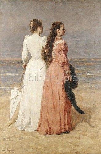 Isidore Verheyden: Elegant gekleidete Damen am Strand. 1891