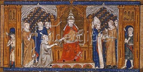 Französisch: Papst Gregor IX. händigt die Dekretale aus. Um 1340