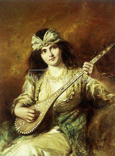 Agapit Stevens: Odaliske mit Mandoline.