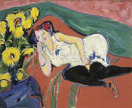 Ernst Ludwig Kirchner: Liegende Frau in weißem Hemd. Um 1909