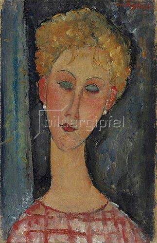 Amadeo Modigliani: Blonde junge Frau mit Ohrringen. 1918-19