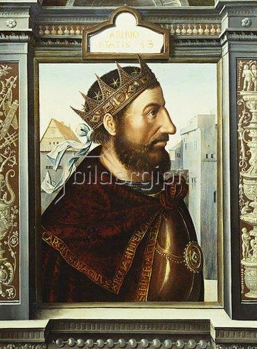Quinten Massys: Karl der Große (ca. 742-814), Brustbild, im Profil.