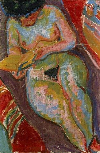 Ernst Ludwig Kirchner: Weiblicher Akt (Lesend). 1909
