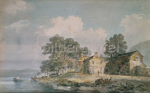 Joseph Mallord William Turner: Ein Farmhaus an einem See im Lake District. Um 1797
