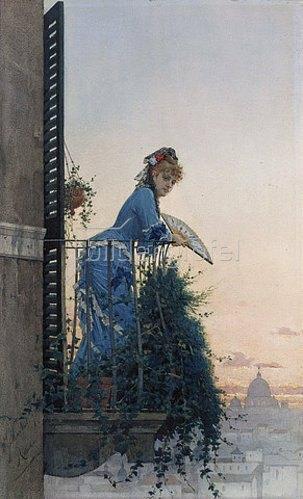 Willem Johann Martens: Eine Dame auf einem Balkon, im Hintergrund die Kuppel von St. Peter.