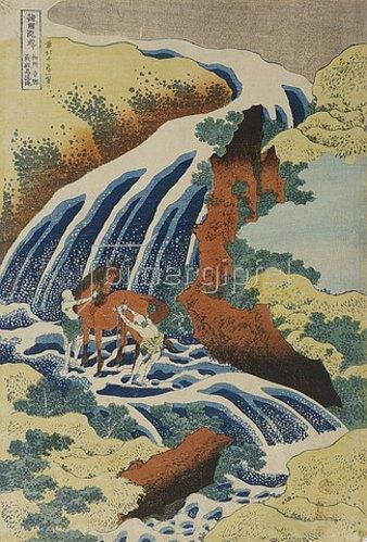Katsushika Hokusai: Zwei Männer waschen ein Pferd an einem Wasserfall.