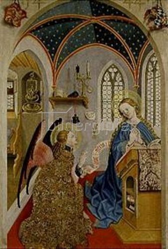 Meister der Pollinger Tafeln: Verkündigung an Maria.Außenseite des li. Flügels eines Altars aus Polling.