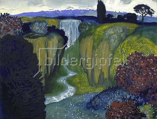 Franz von Stuck: Landschaft mit Wasserfall.
