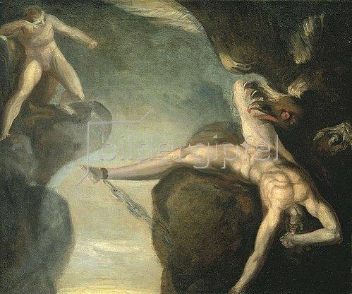 Johann Heinrich Füssli: Prometheus wird von Hercules gerettet. 1781/85