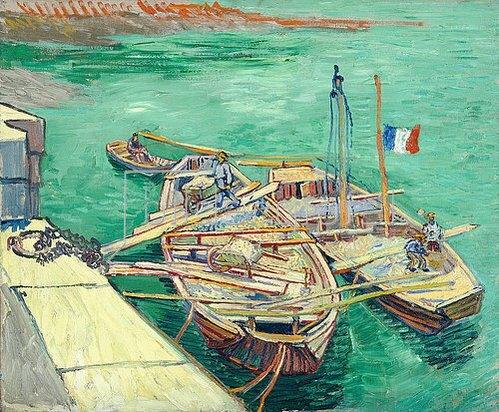 Vincent van Gogh: Rhonebarken. (Les bateaux amarrés.) 1888