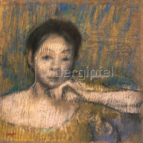 Edgar Degas: Brustbild einer Frau, ihre linke Hand am Kinn. Um 1895-98