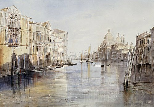 Edward Lear: Der Canal Grande mit Santa Maria Della Salute, Venedig. 1865