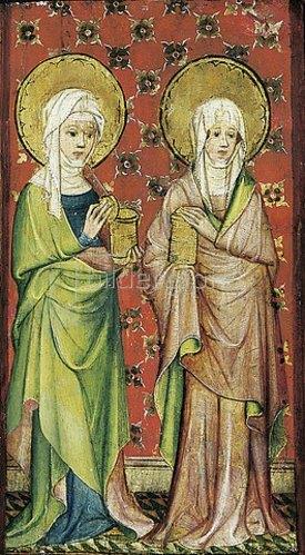 Älterer Meister der Aachener Schranktüren: Der Engel empfängt die drei Marien am Grabe (rechter Flügel).
