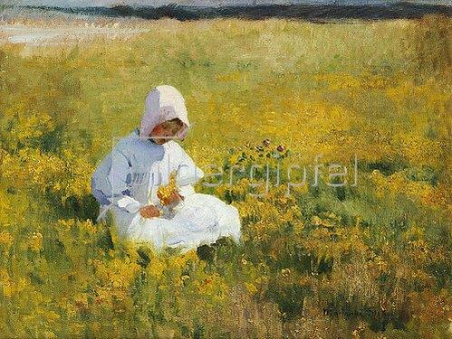 Marianne Stokes: Ein Mädchen beim Blumen pflücken.