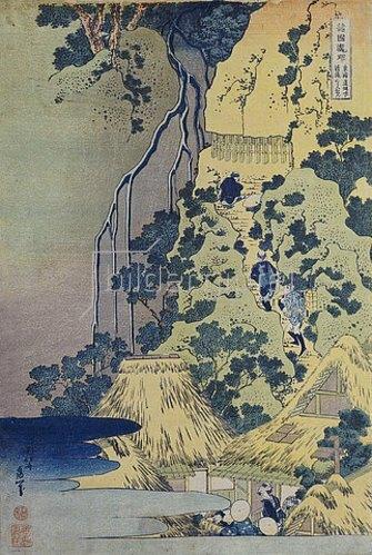 Katsushika Hokusai: Reisende beim Aufstieg eines steilen Berges, um einen Schrein in einer Höhle bei einem Wasserfall aufzusuchen.