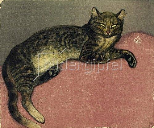 Théophile-Alexandre Steinlen: Der Winter, Katze auf einem Kissen. 1909