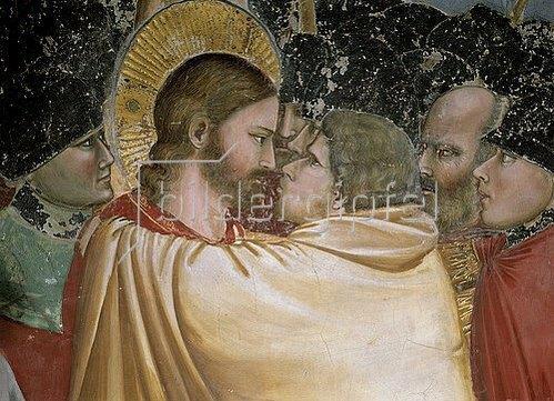 Giotto di Bondone: Der Judaskuss (Detail, siehe auch Bilnummer 34477). Um 1305