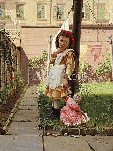 John George Brown: Mädchen in einem New Yorker Innenhof. 1871
