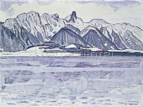 Ferdinand Hodler: Stockhorn verschneit. Um 1913-14.
