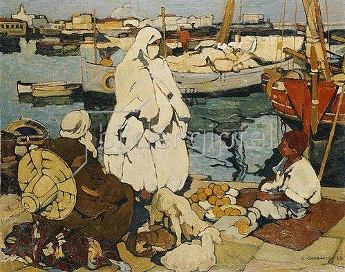 Leon Cauvy: Im Hafen von Algier. 1924