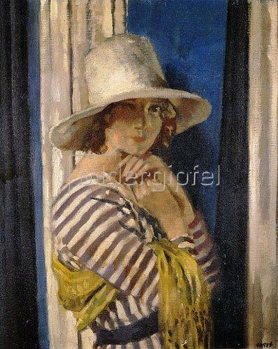 Sir William Orpen: Mrs. Hone in einem gestreiften Kleid. Um 1912