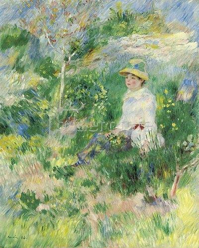 Auguste Renoir: Sommer, junge Frau auf einer Blumenwiese. 1884