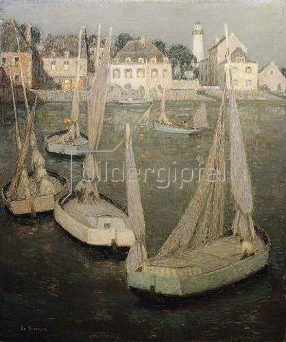 Henri Le Sidaner: Bretonischer Hafen bei Mondlicht.