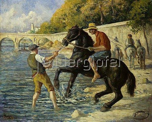 Maximilien Luce: Badendes Pferd in der Seine.