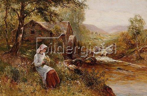 Ernest Walbourn: Eine junge Frau beim Plücken von Frühlingsblumen.