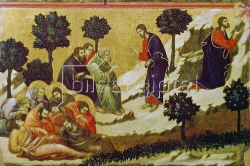 Duccio di Buoninsegna: Christus und die schlafenden Jünger am Ölberg.