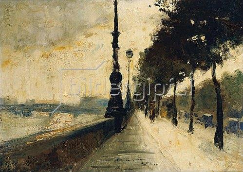 Lesser Ury: Der Uferdamm, London. 1926