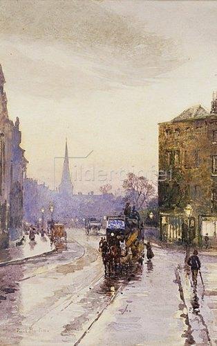 Rose Maynard Barton: Die Nassauer Straße in Dublin bei Regenwetter.