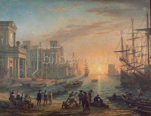 Claude Lorrain (Gellée): Seehafen bei untergehender Sonne. 1639