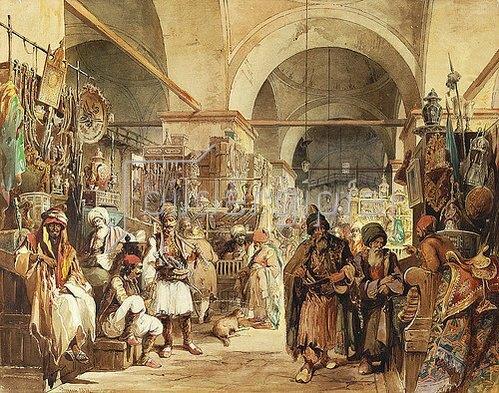 Amadeo Preziosi: Im Basar. 1854