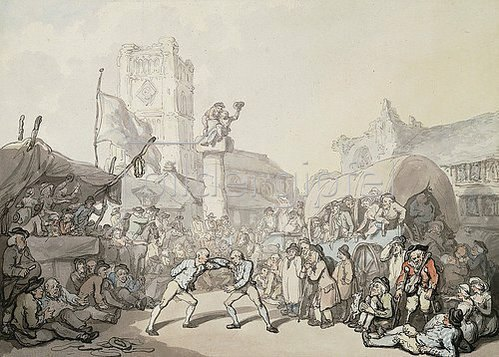 Thomas Rowlandson: Ein Ringkampf in Cornwall.