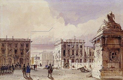 Thomas Shotter Boys: Hotel de Bellevue und Café d'Amitié in Brüssel. 1830